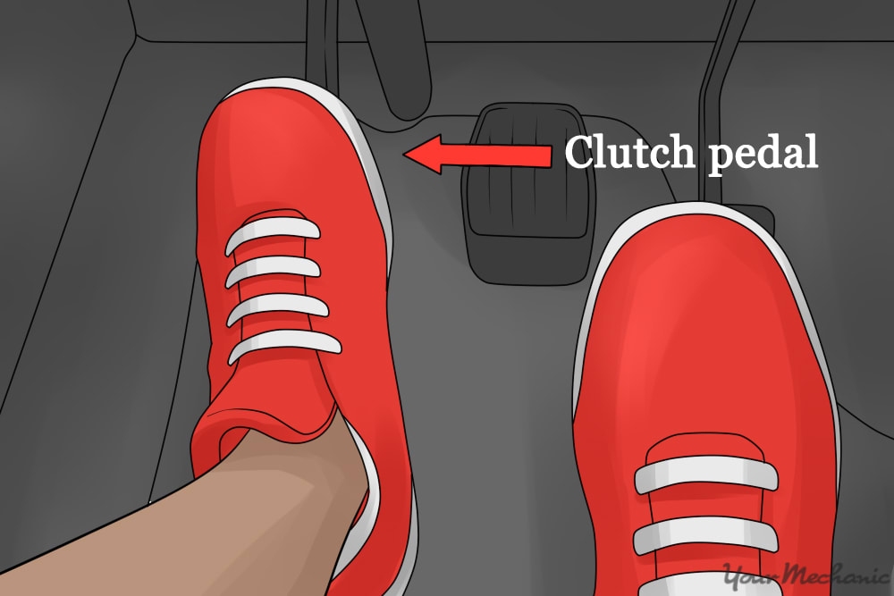 person stepping on clutch pedal