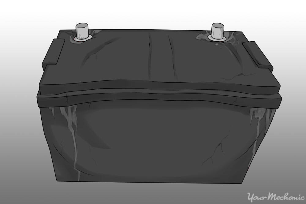 car battery with bulging sides