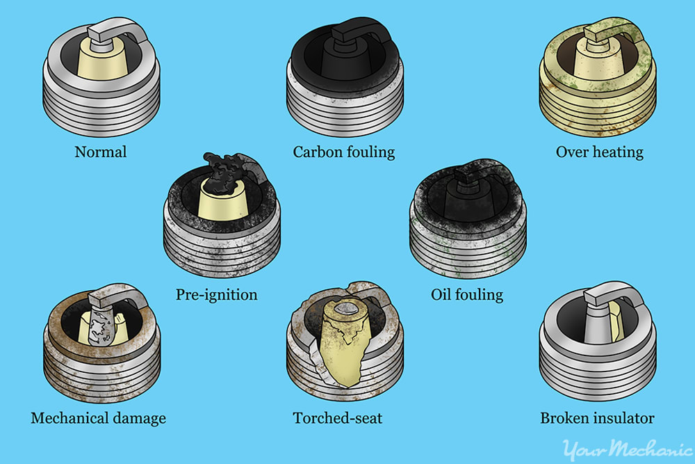 view of several different spark plug failures