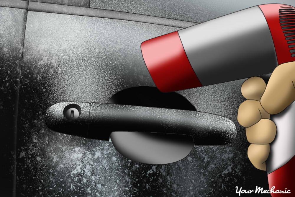 hair dryer on car door handle