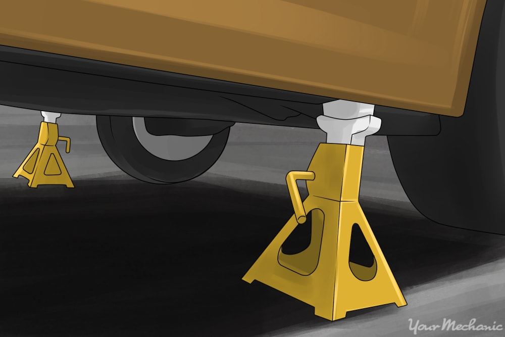 vehicle on jack stands