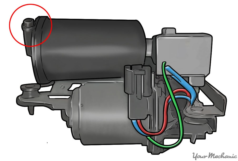 picture of air compressor with lock ring circled in red