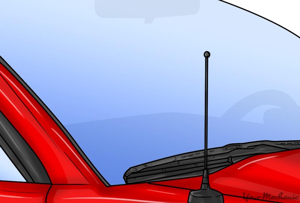 close up of car antenna