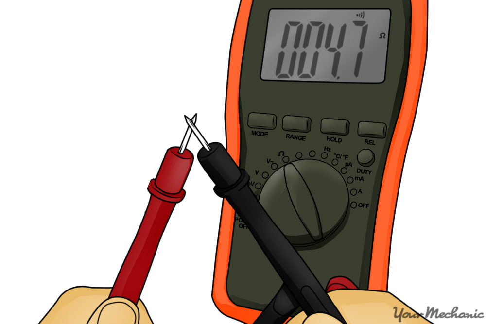 person using multimeter leads together reading 20 ohms