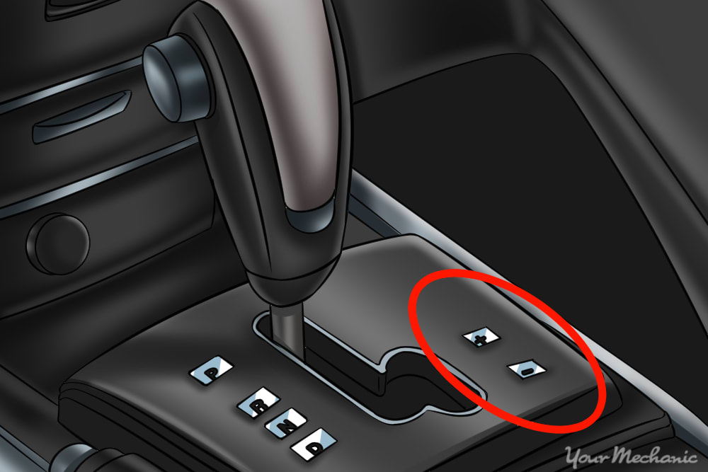 gear shifter with plus and minus circled