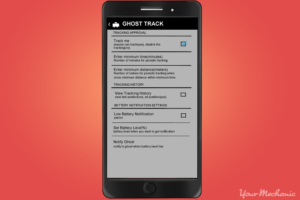 ghostrack app menu with the track me box checked