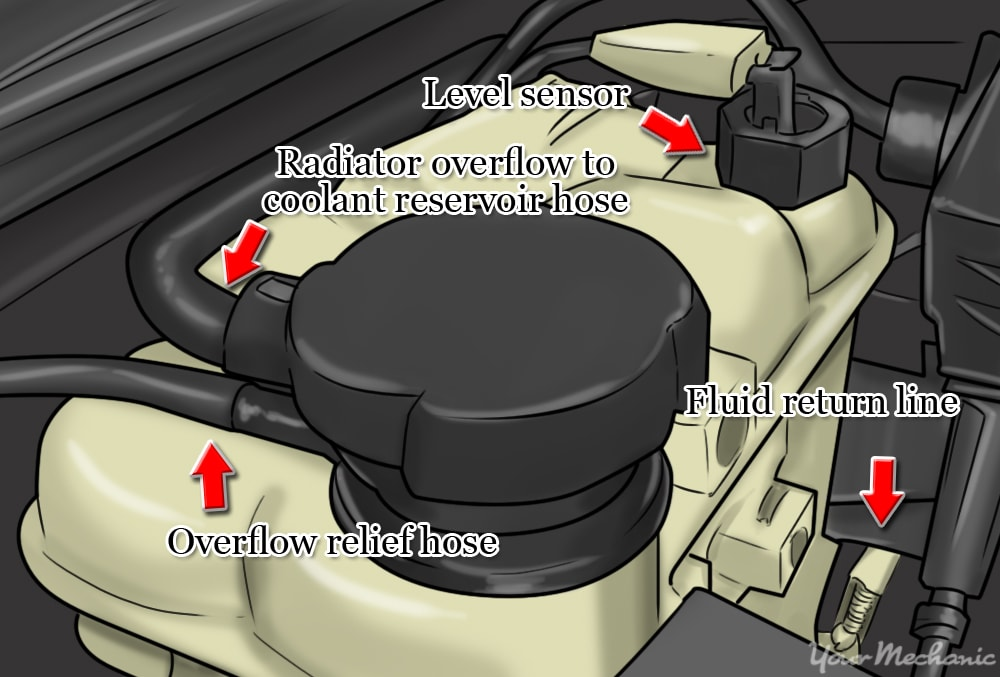 locate the coolant reservoir and make sure its not the windshield washer tank