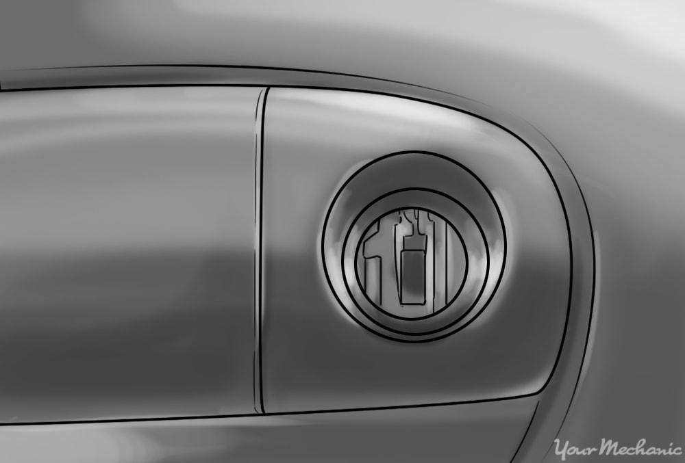 example of external damage to the door lock cylinder