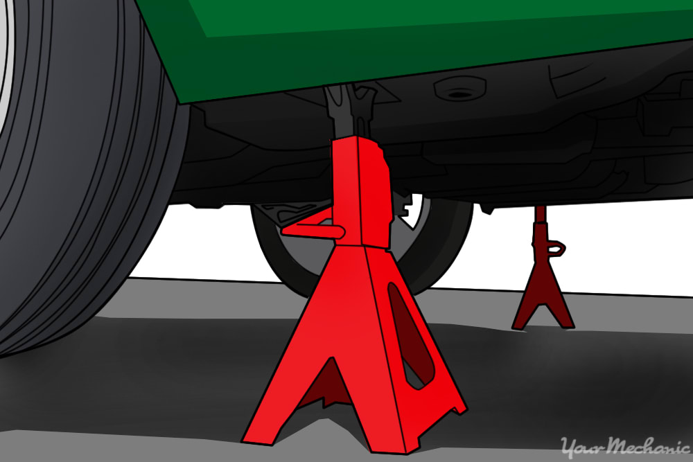 jack stand underneath car clost to tire