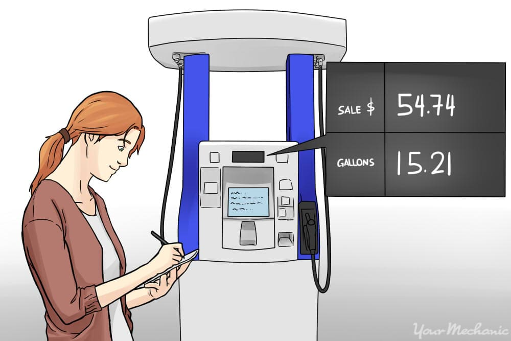person noting down gas pump readout