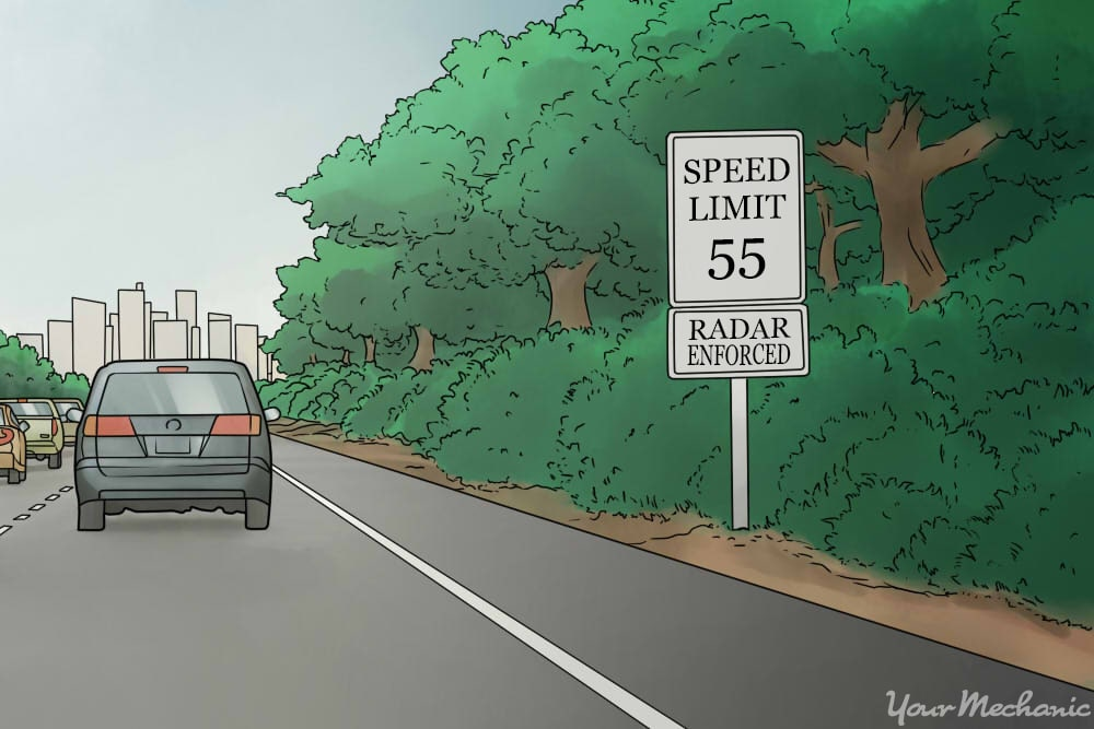 speed limit sign on highway