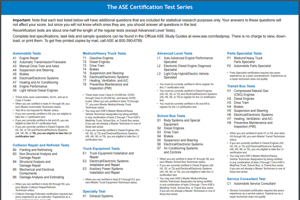 ASE certified - 3