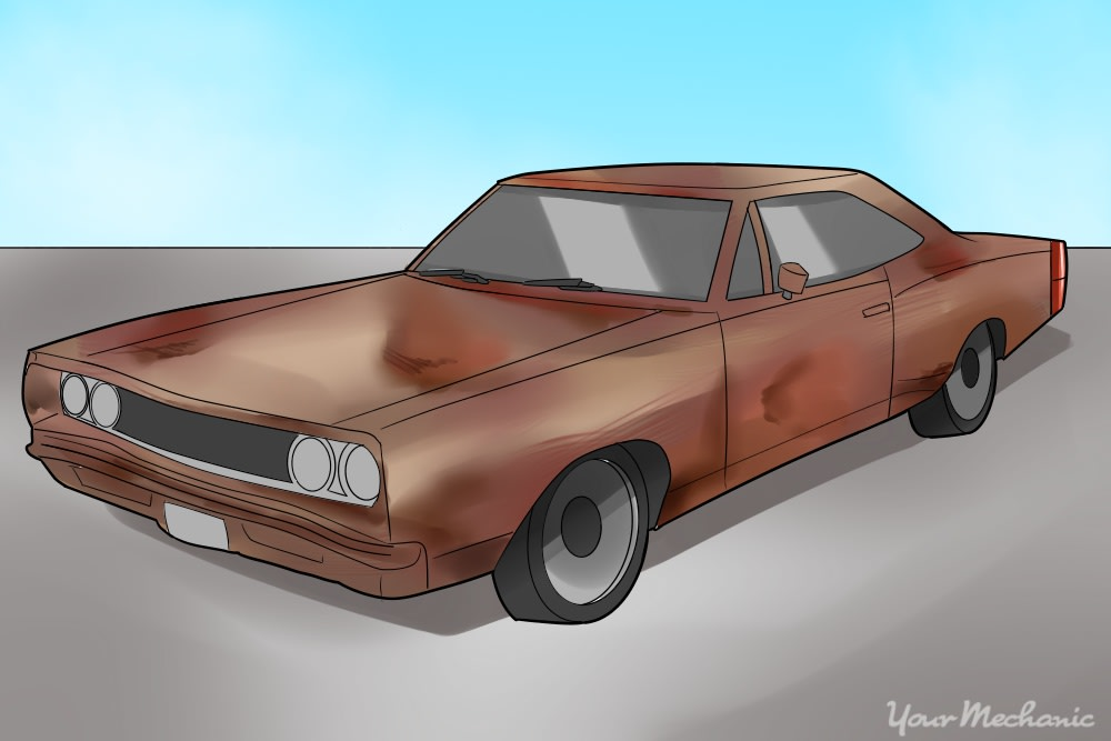 old muscle car covered in rust
