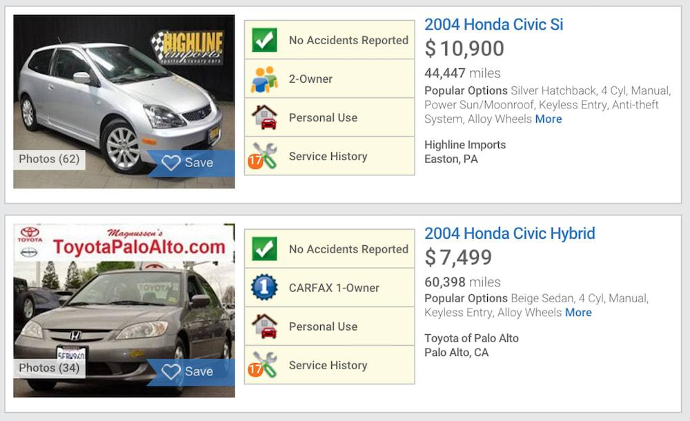 screenshot of used car listings