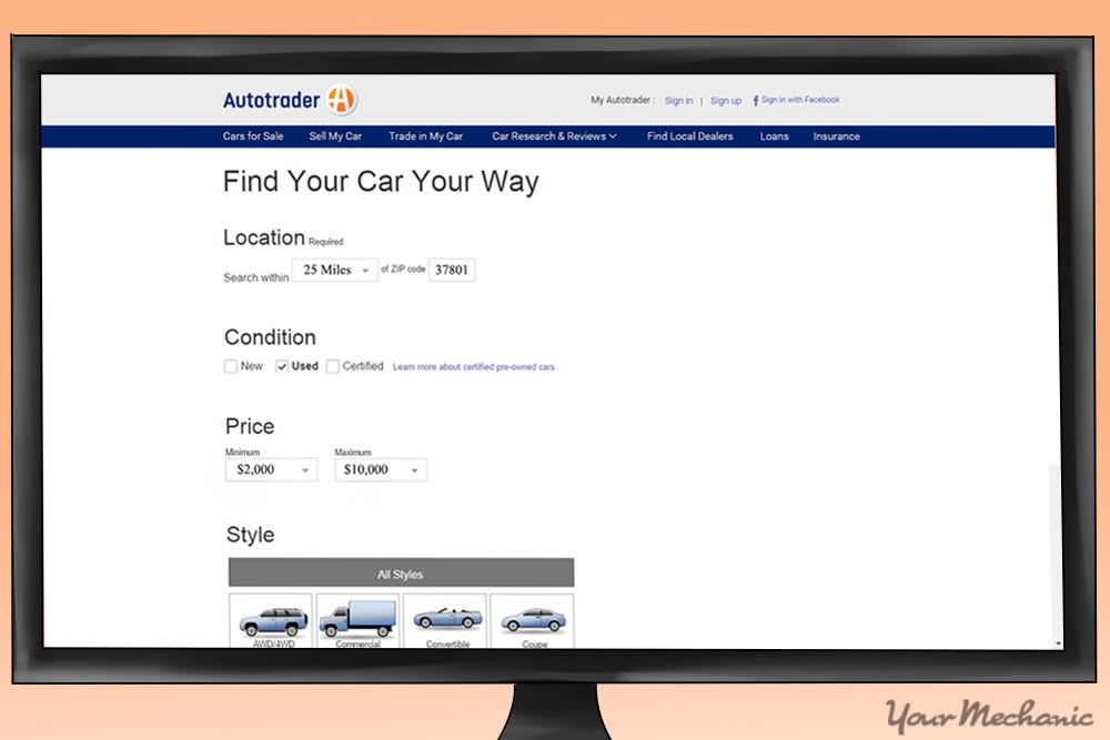 computer monitor on car listing site