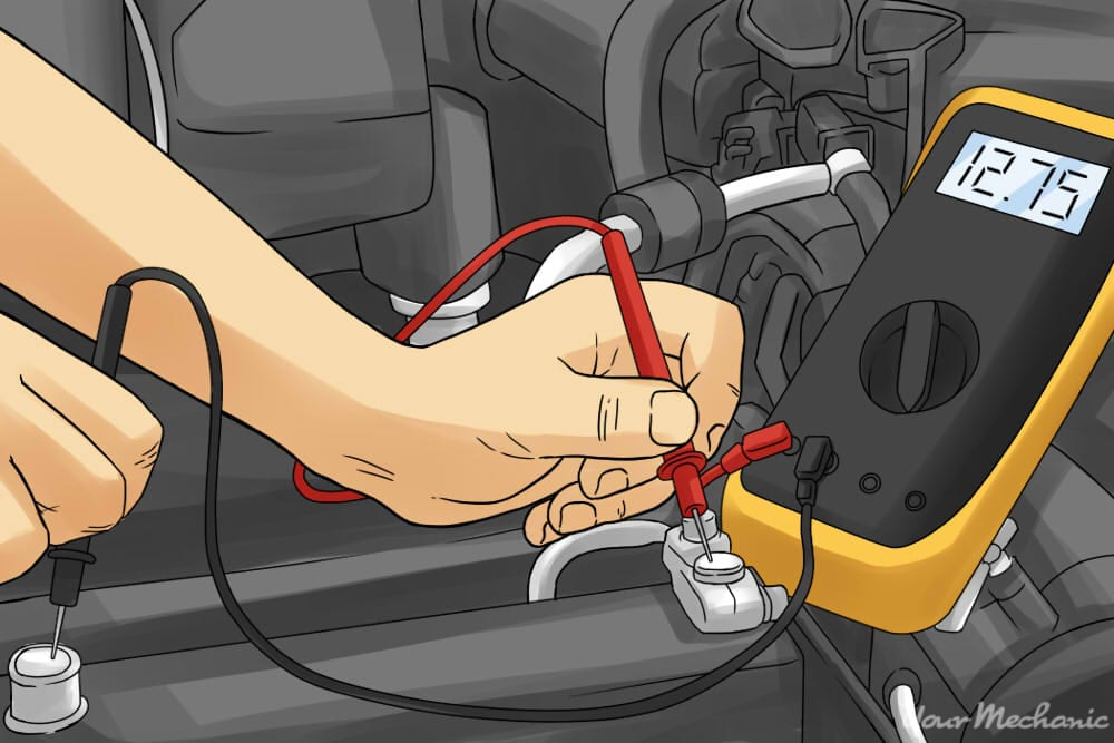 person touching cables of multimeter