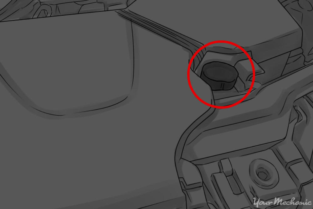 radiator cap circled and labeled
