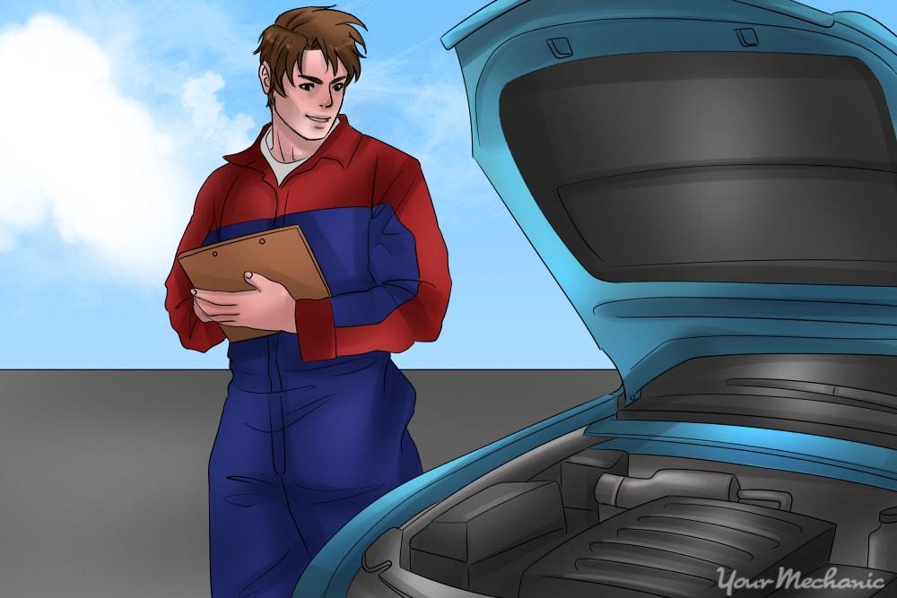 pro mechanic inspecting car