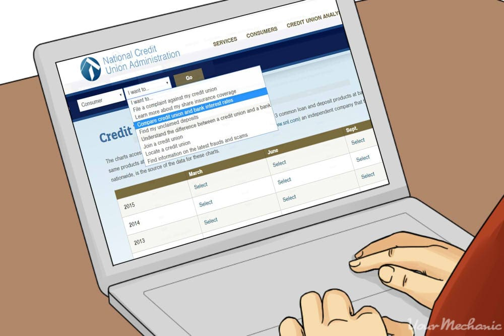filling out information on credit union site