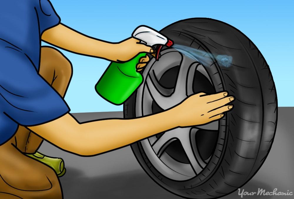 misting tire with spray