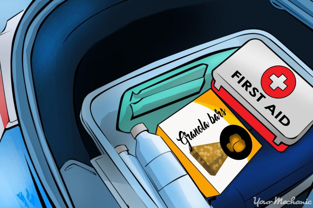 winter driving emergency kit in trunk
