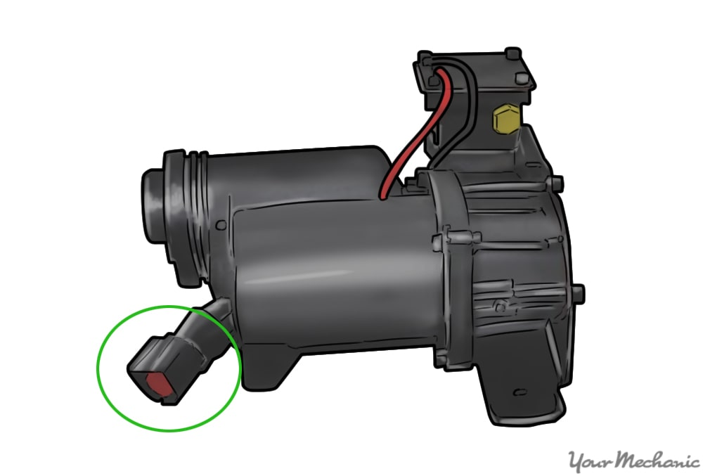 air compressor with the electrical connector circled in