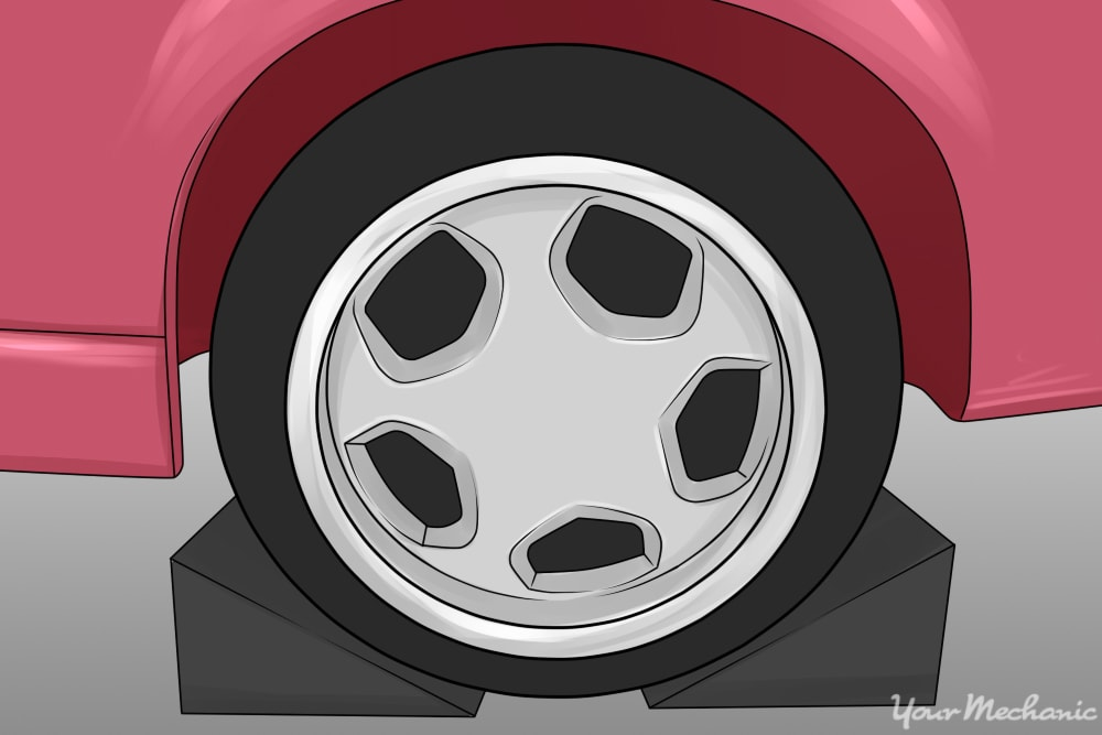 photo of wheel chocks applied