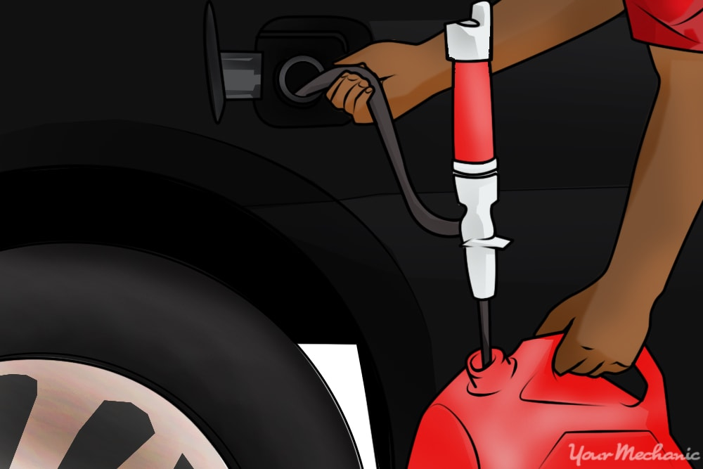 person siphoning gas into cannister