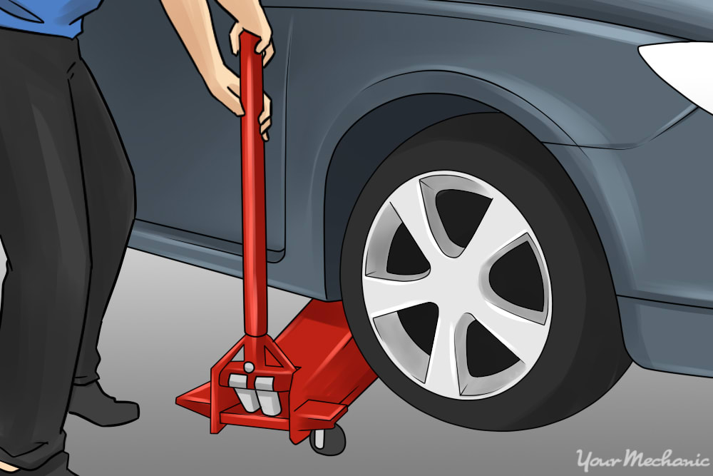jacking up car to witch out tire