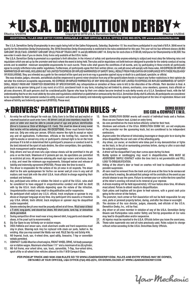 demolition derby rules
