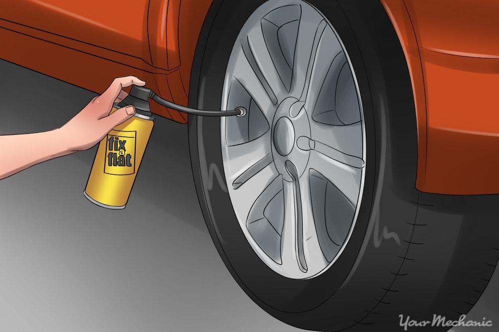 hand compressing fix a flat into tire