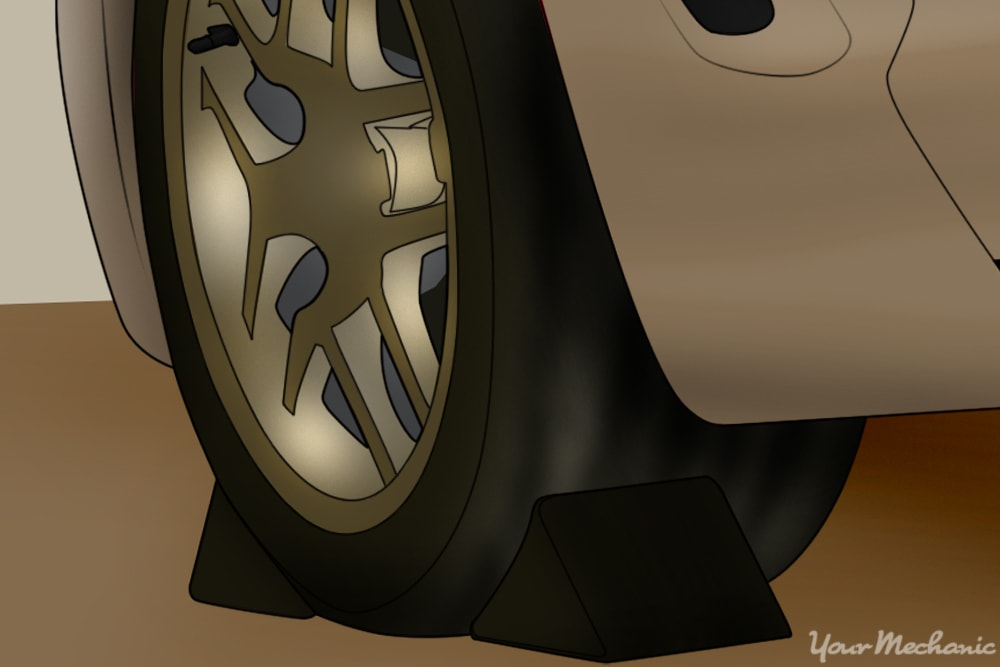 wheel chocks on front and back of wheel