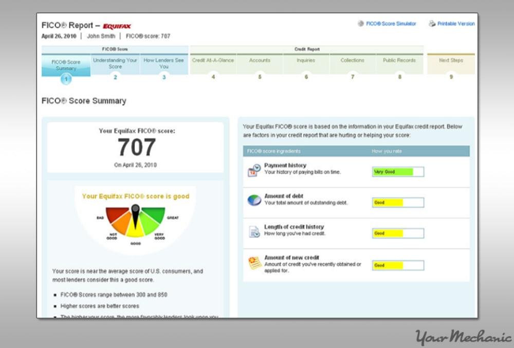 sample equifax credit report