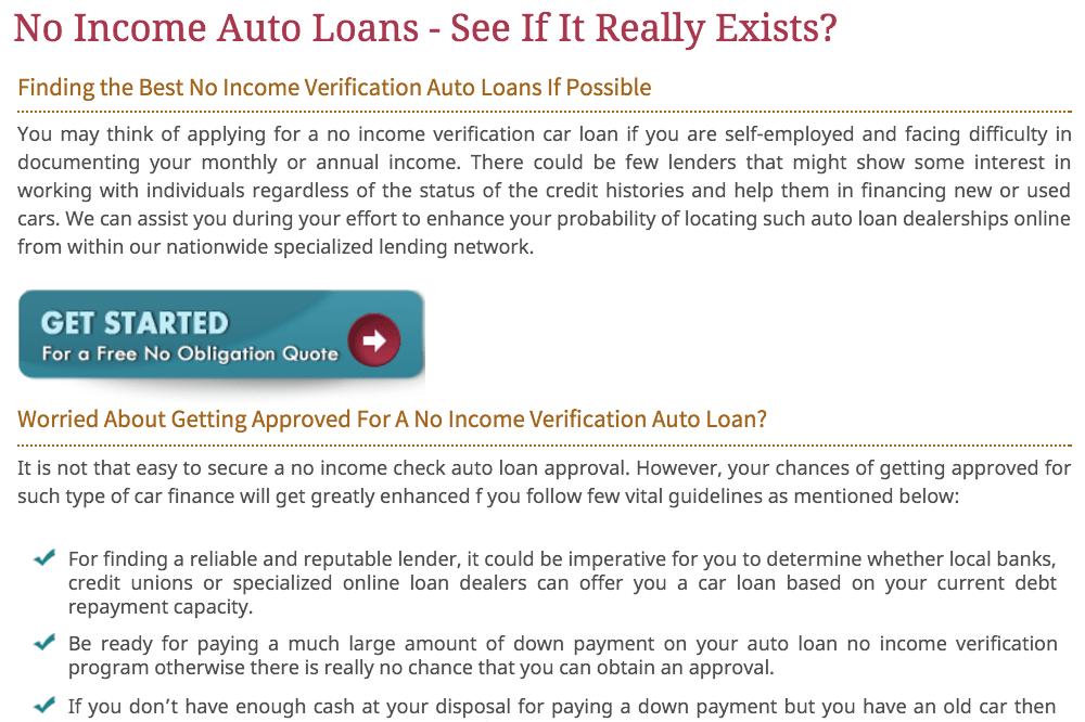 no income loan page