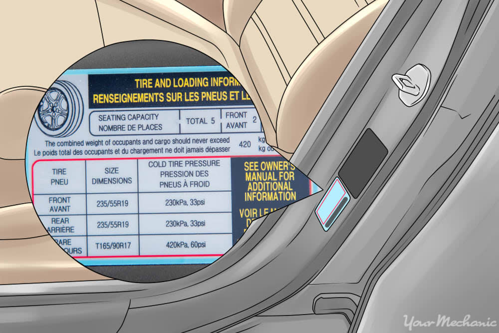 door jam with tire pressure info
