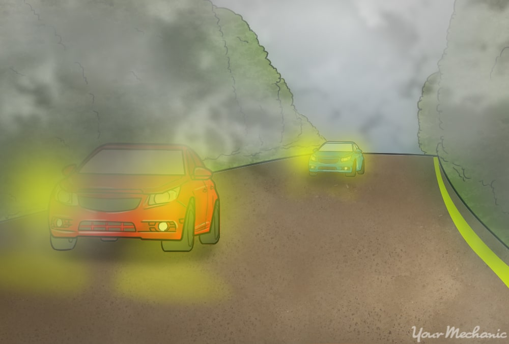 view of car driving on a two way road