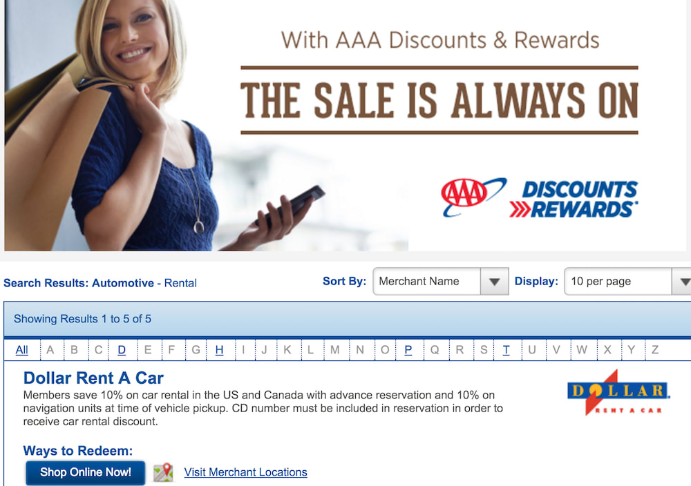 AAA discount page