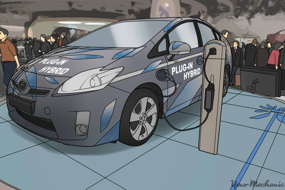 hybrid plugged in at auto show