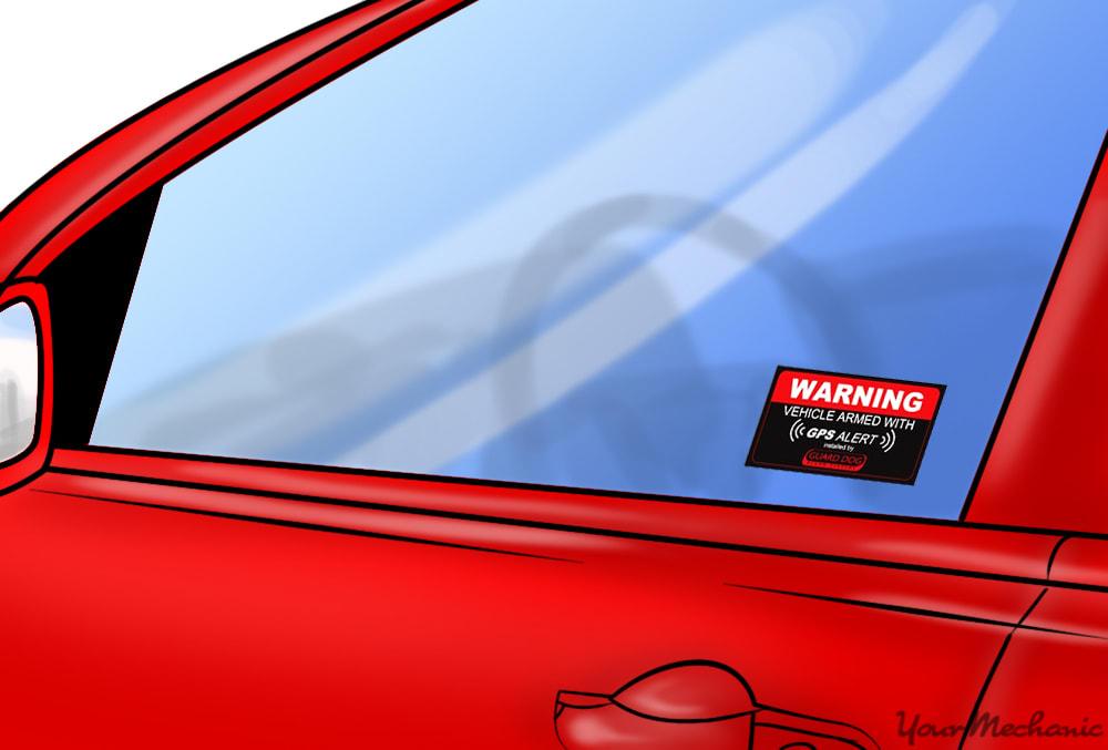 car alarm sticker
