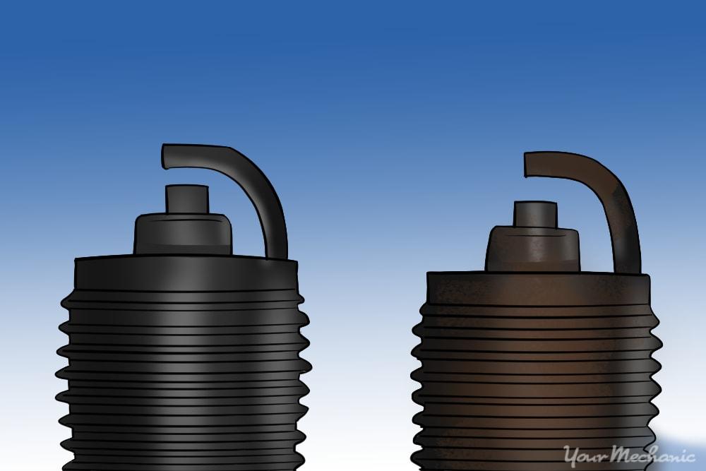 worn spark plug vs new one