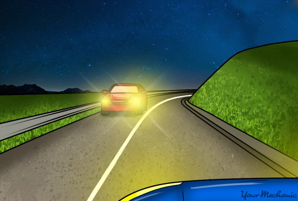 oncoming car on road