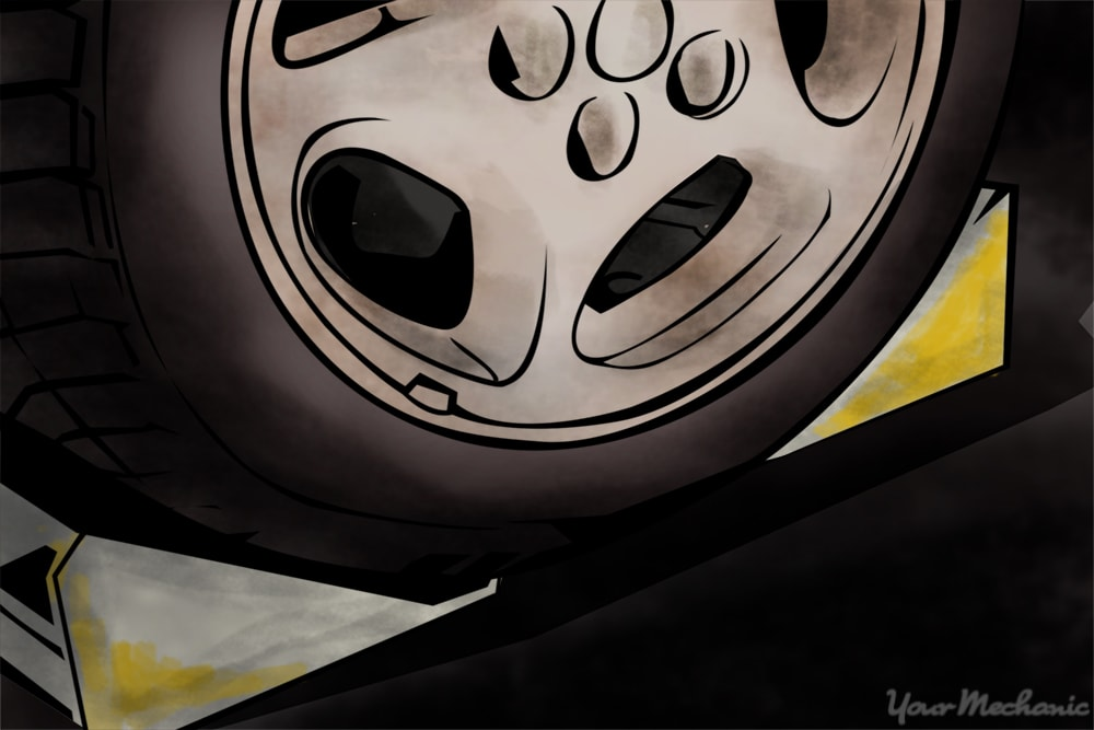 wheel chocks placed around tired