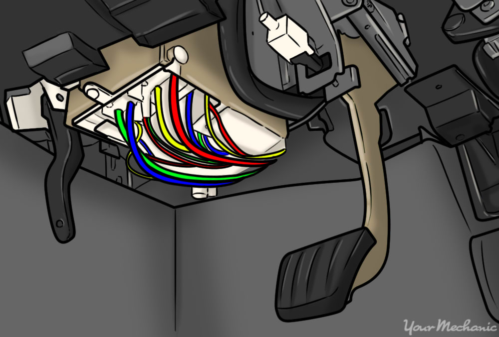 location of the clutch release switch under the dashboard and slightly above the clutch pedal