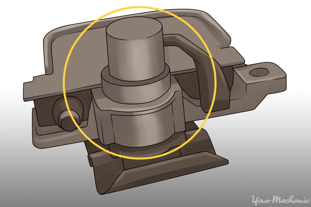 diagram or picture of the mechanisms behind the access panel highlighting the cylinder