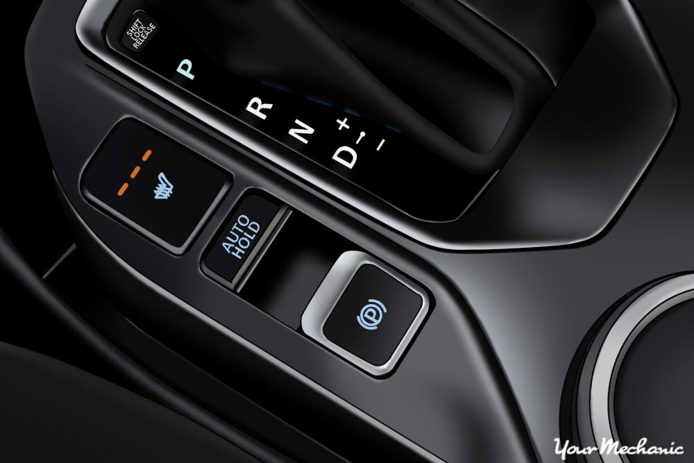 center console showing many button functions including parking brake button