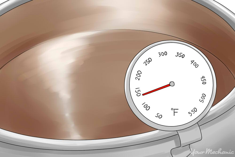 pot in hot plate with thermometer showing 120 degrees
