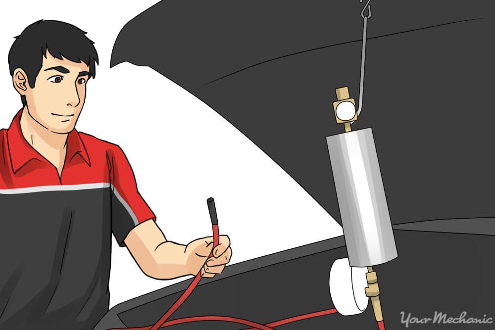 person preparing the kit hose