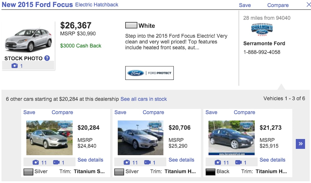 autotrader ford focus listings
