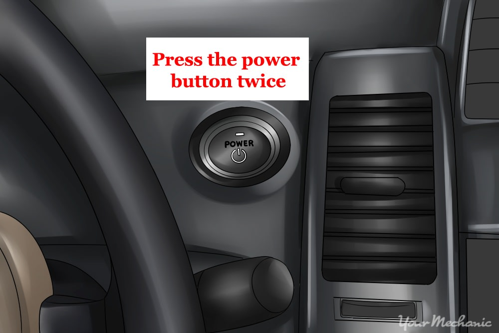 prius dash with power button shown