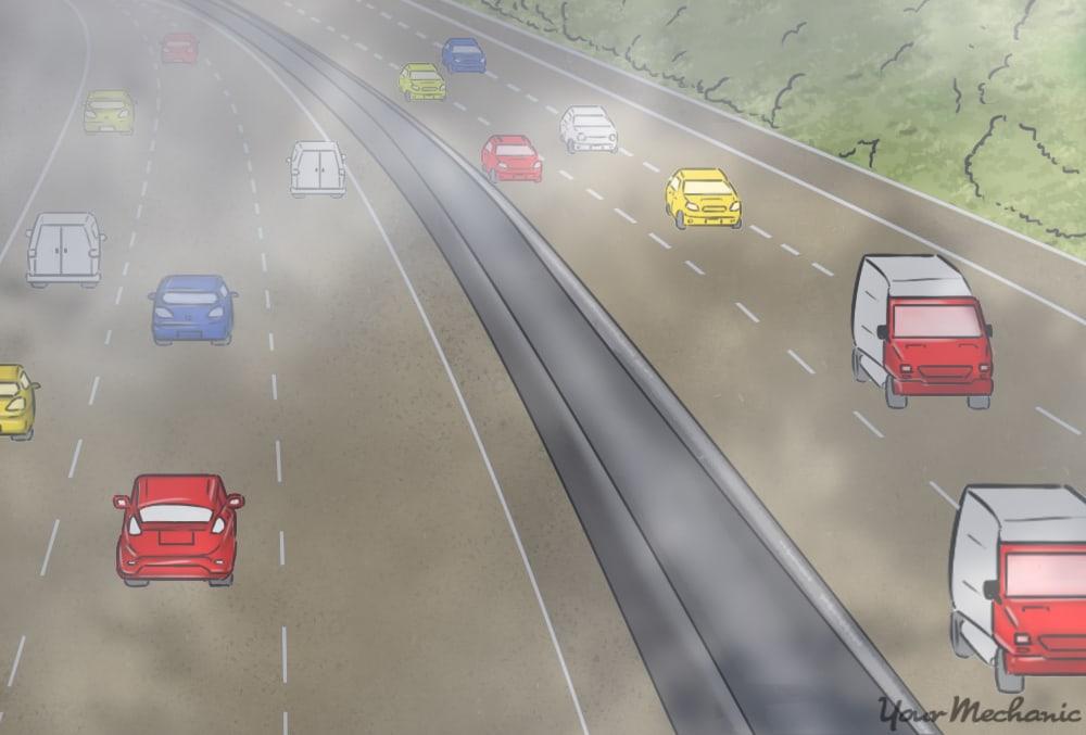 cars driving around